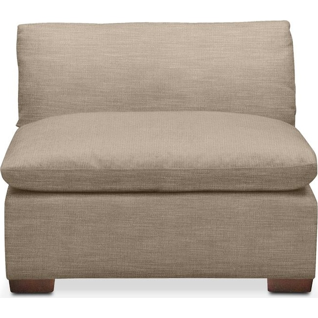 Living Room Furniture - Plush Armless Chair- in Dudley Burlap