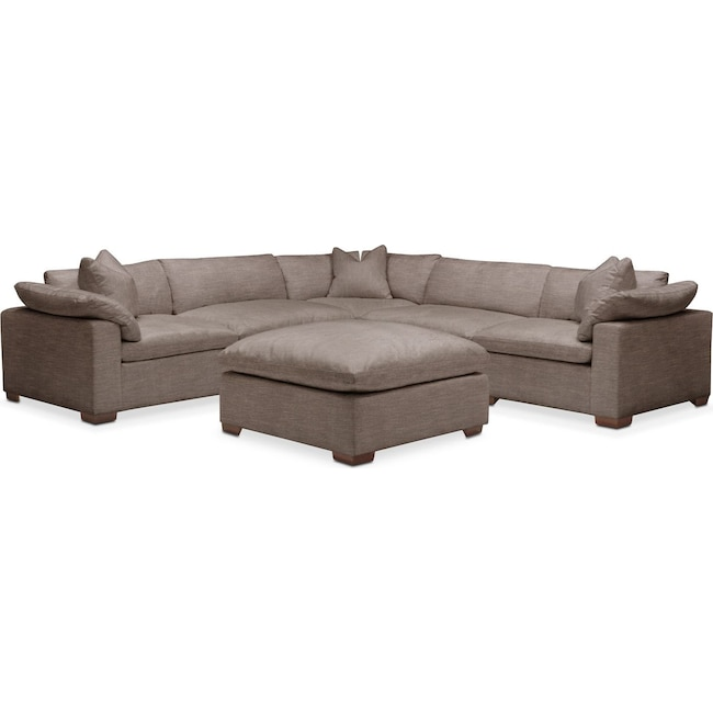 Living Room Furniture - Plush 6 Pc. Sectional- in Hugo Mocha
