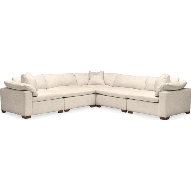 Living Room Furniture - Plush 5 Pc. Sectional- in Curious Pearl