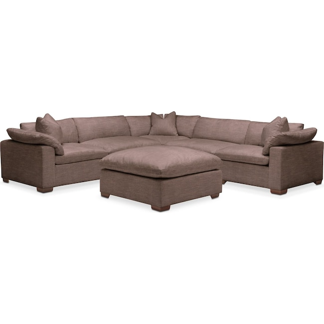 Living Room Furniture - Plush 6-Piece Sectional - Oakley III Java