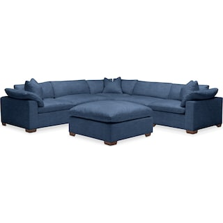 Plush 6 Pc. Sectional- in Hugo Indigo