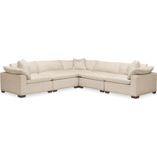 Living Room Furniture - Plush 5 Pc. Sectional- in Victory Ivory