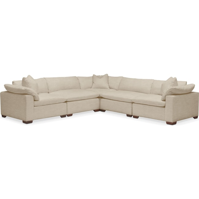 Living Room Furniture - Plush 5 Pc. Sectional- in Depalma Taupe