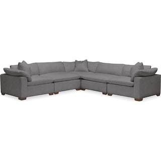 Plush 5 Pc. Sectional- in Hugo Graphite