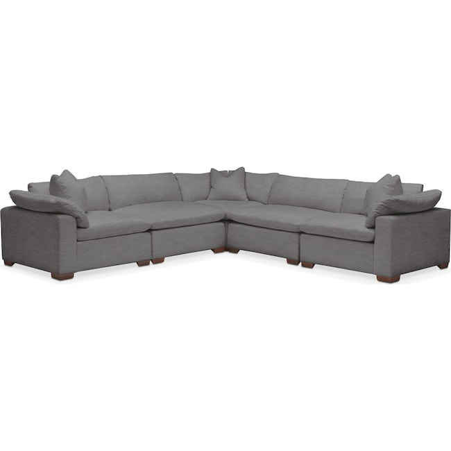 Living Room Furniture - Plush 5 Pc. Sectional- in Hugo Graphite