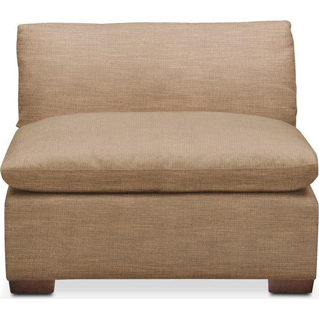 Living Room Furniture - Plush Armless Chair- in Hugo Camel