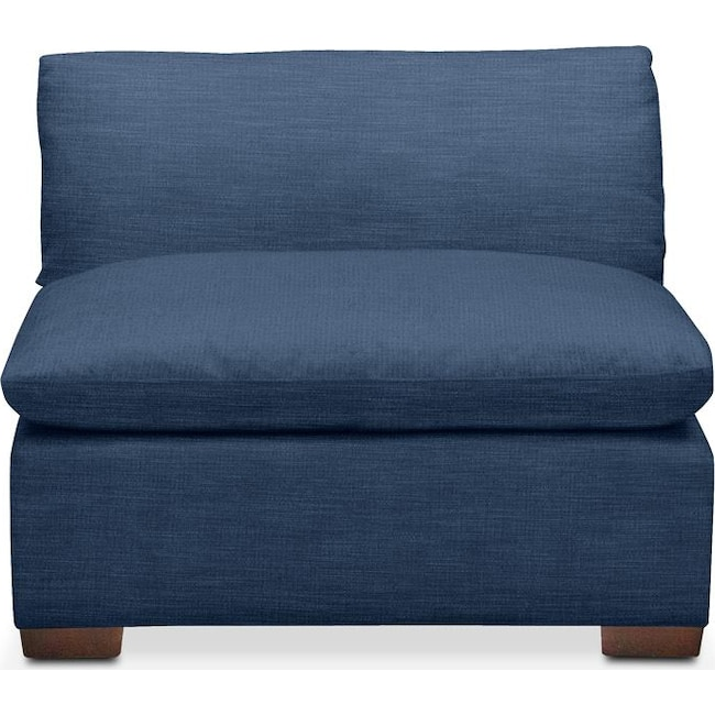 Living Room Furniture - Plush Armless Chair- in Hugo Indigo
