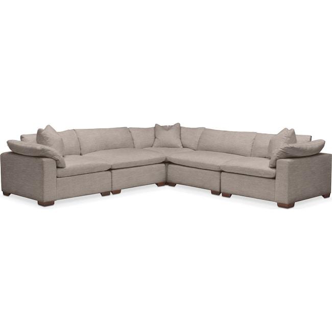 Living Room Furniture - Plush 5 Pc. Sectional- in Abington TW Fog
