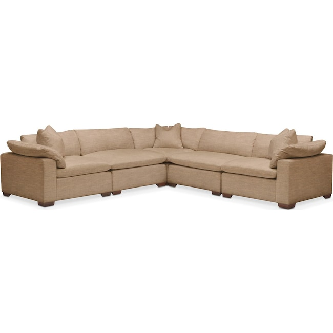 Living Room Furniture - Plush 5 Pc. Sectional- in Hugo Camel