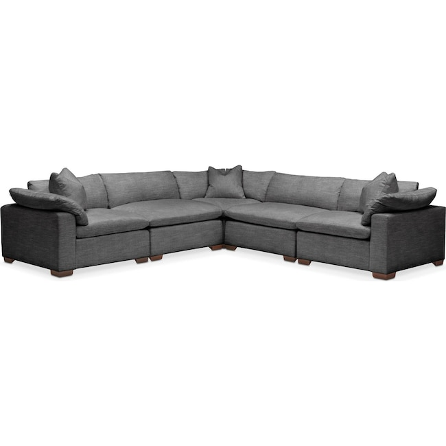 Living Room Furniture - Plush 5 Pc. Sectional- in Curious Charcoal