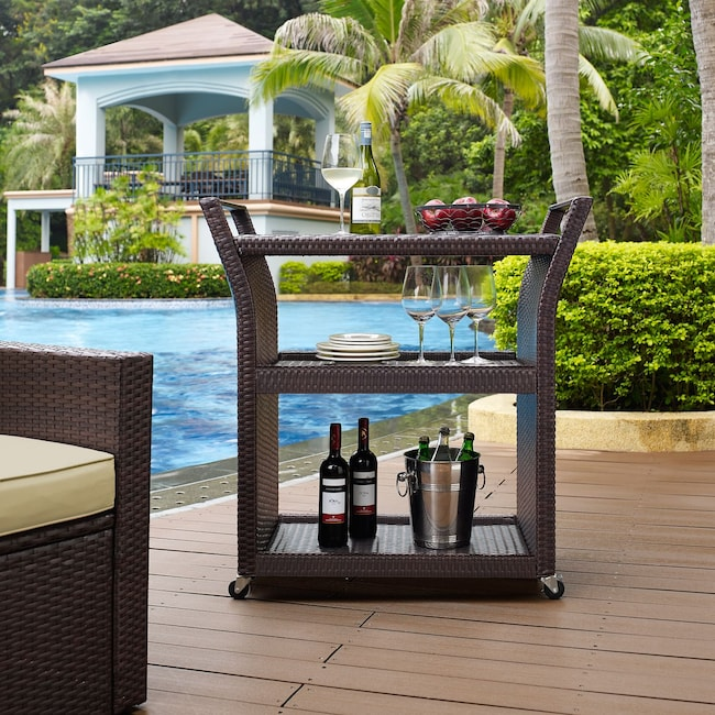 Outdoor Furniture - Aldo Outdoor Bar Cart - Brown