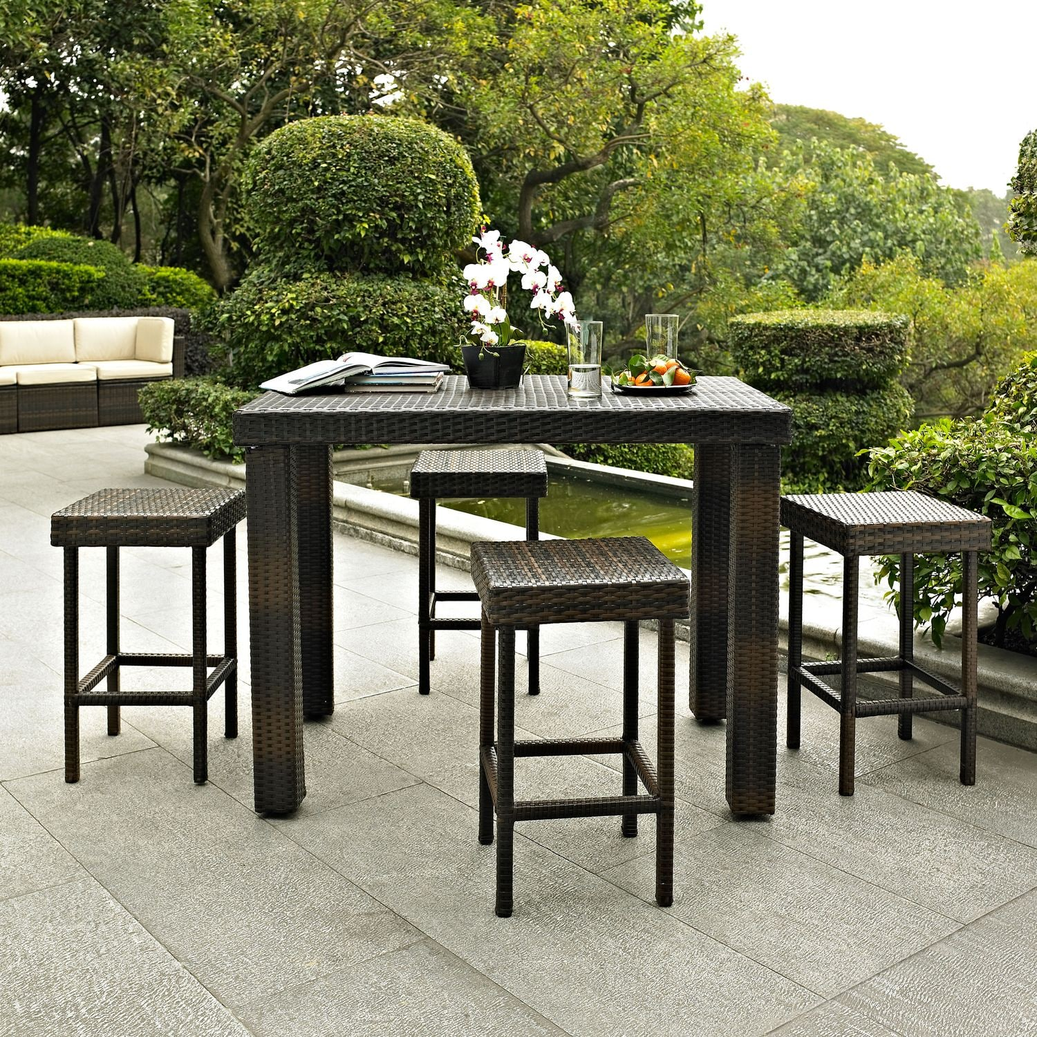Outdoor furniture aldo outdoor counter height dining table and 4 stools brown