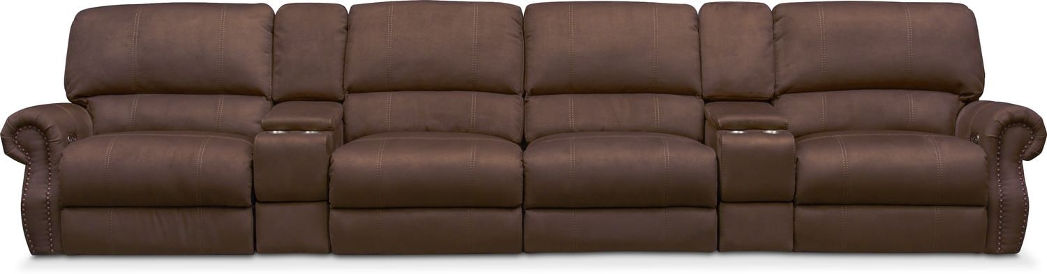 Dartmouth 6-Piece Power Reclining Sectional with 4 Reclining Seats - Mocha  sc 1 st  Value City Furniture : reclining sectional - Sectionals, Sofas & Couches