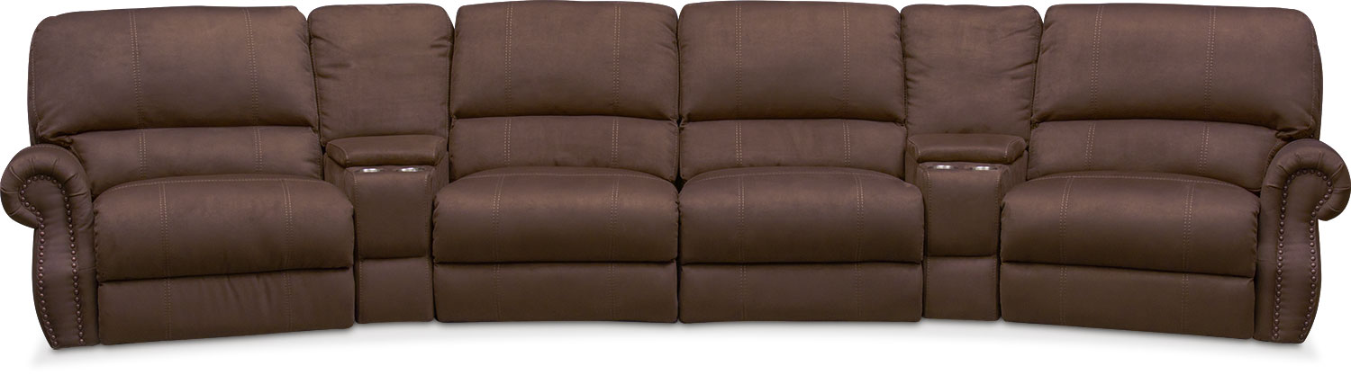 Dartmouth 6-Piece Power Reclining Sectional with 2 Wedge Consoles - Mocha  sc 1 st  Value City Furniture : sectional recliner sofas - Sectionals, Sofas & Couches