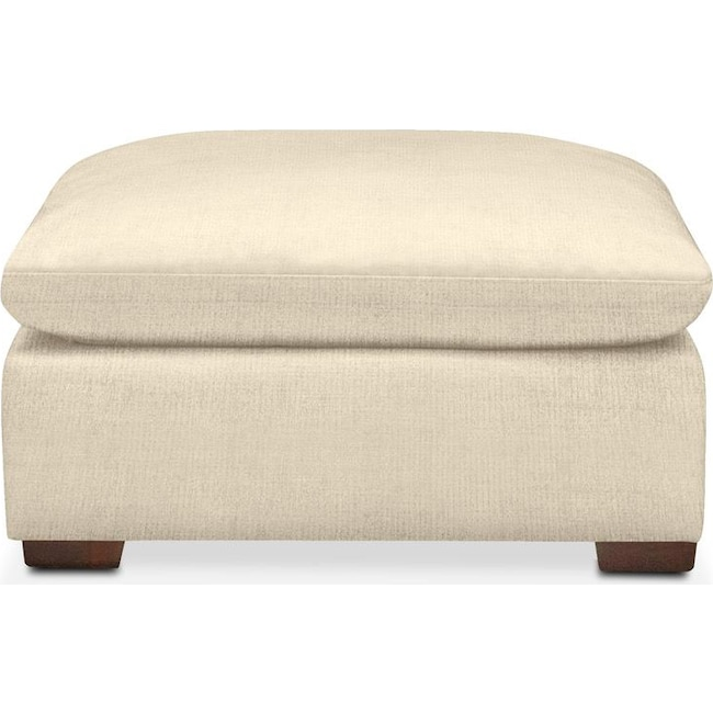 Living Room Furniture - Plush Ottoman- in Anders Cloud