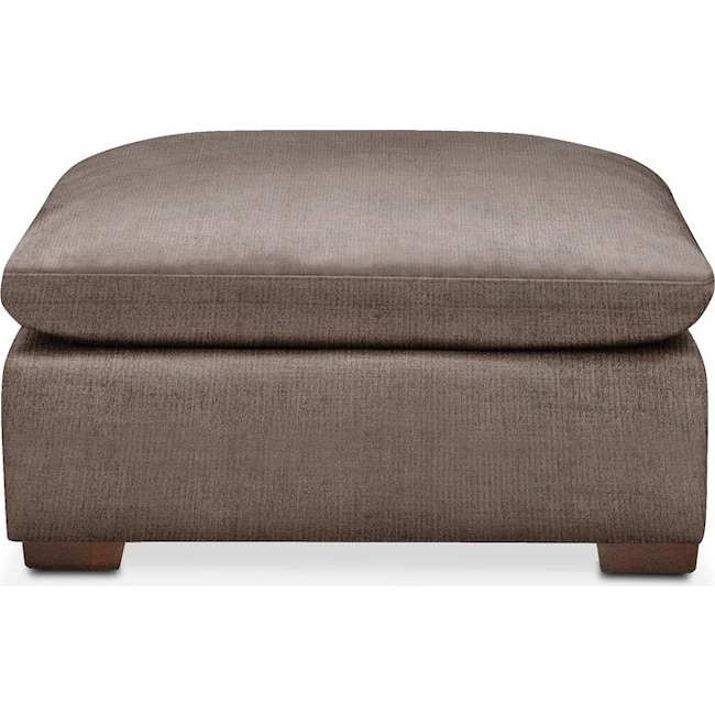 Living Room Furniture - Plush Ottoman- in Hugo Mocha