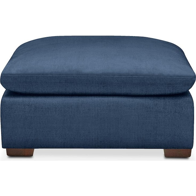 Living Room Furniture - Plush Ottoman- in Hugo Indigo