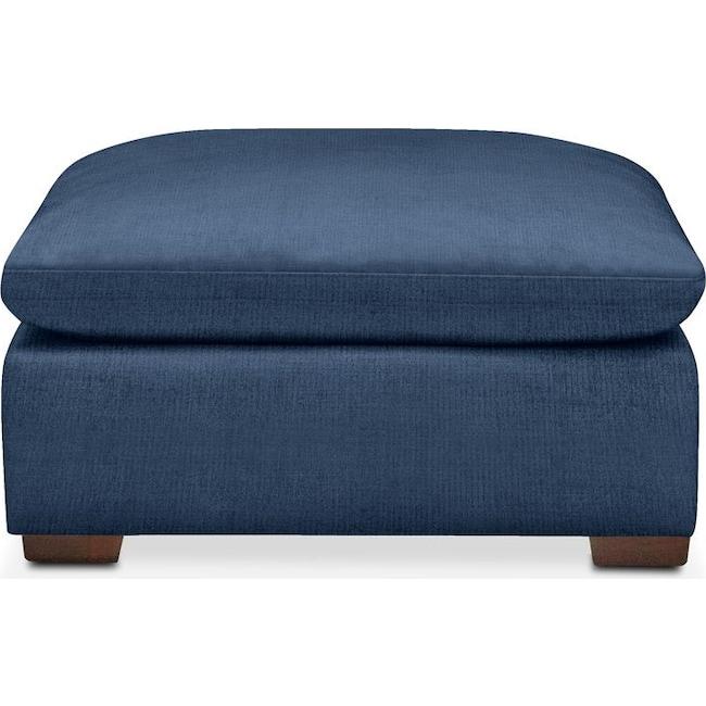 Living Room Furniture - Plush Ottoman- in Hugo Indigo