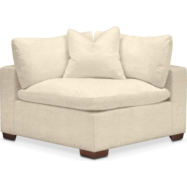 Living Room Furniture - Plush Corner Chair- in Anders Cloud