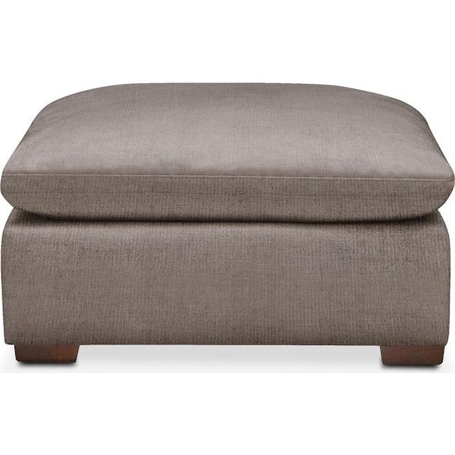 Living Room Furniture - Plush Ottoman- in Oakley III Granite