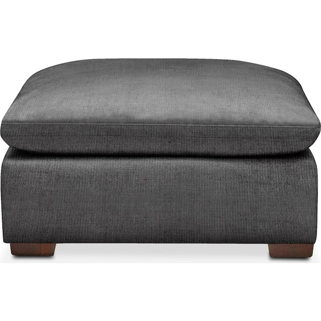 Living Room Furniture - Plush Ottoman- in Curious Charcoal