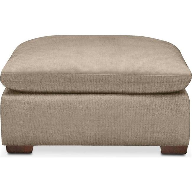 Living Room Furniture - Plush Ottoman- in Dudley Burlap