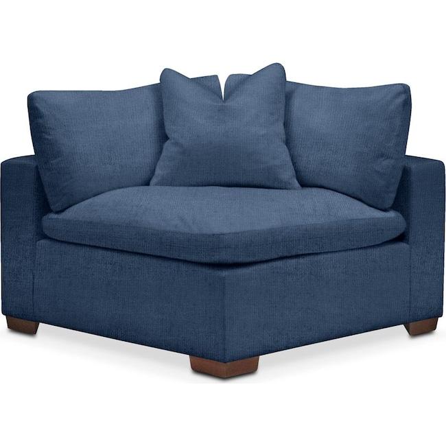 Living Room Furniture - Plush Corner Chair- in Hugo Indigo