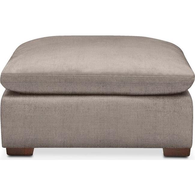 Living Room Furniture - Plush Ottoman- in Abington TW Fog