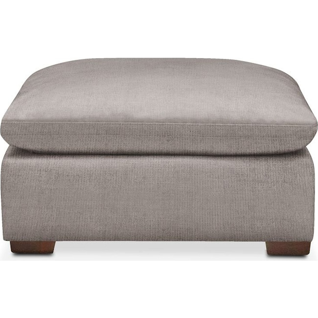 Living Room Furniture - Plush Ottoman- in Curious Silver Rine