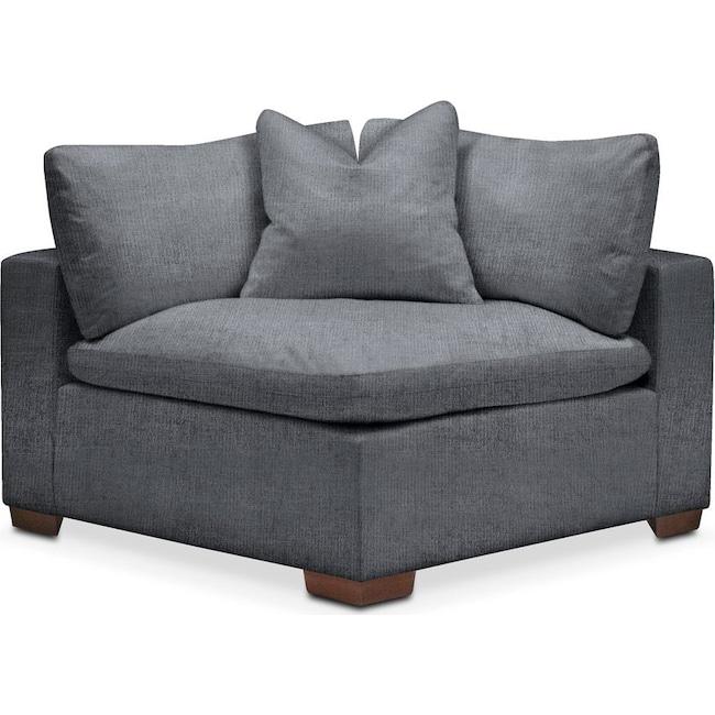 Living Room Furniture - Plush Corner Chair- in Milford II Charcoal