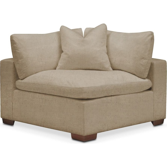 Living Room Furniture - Plush Corner Chair- in Milford II Toast