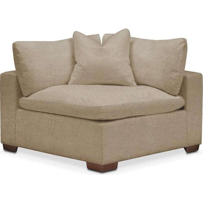 Living Room Furniture - Plush Corner Chair- in Milford II Toast