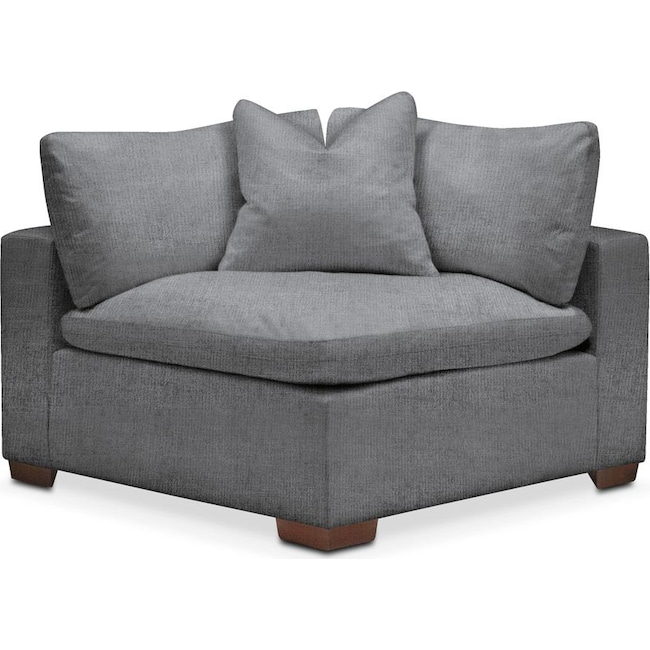 Living Room Furniture - Plush Corner Chair- in Depalma Charcoal