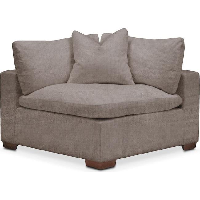 Living Room Furniture - Plush Corner Chair- in Oakley III Granite