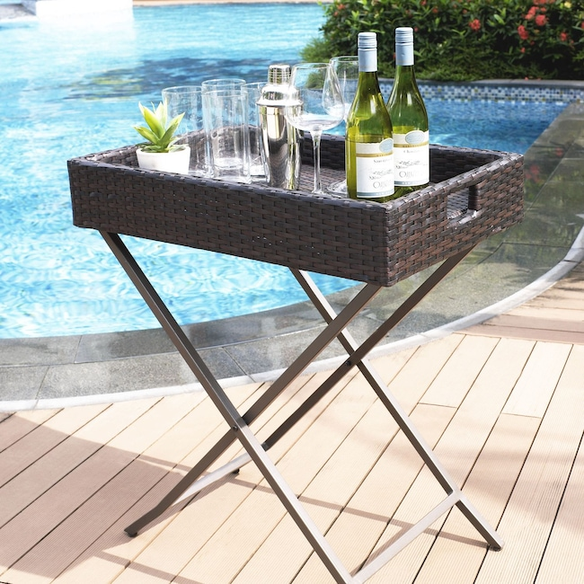 Outdoor Furniture - Aldo Outdoor Folding Tray - Brown