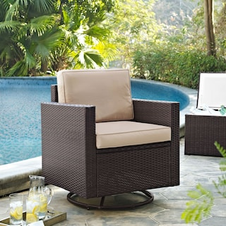Aldo Outdoor Swivel Rocking Chair - Brown