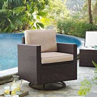 Aldo Outdoor Swivel Rocking Chair - Brown