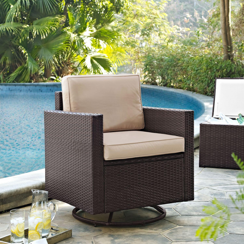 Outdoor Furniture   Aldo Outdoor Swivel Rocking Chair   Brown