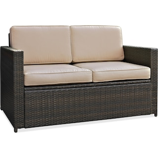 Aldo Outdoor Loveseat, Chair and Coffee Table Set - Brown