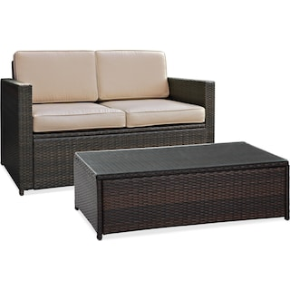 Aldo Outdoor Loveseat and Coffee Table Set - Brown
