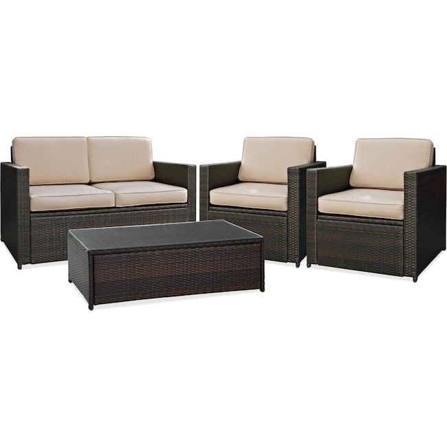 Outdoor Furniture - Aldo Outdoor Loveseat, 2 Chairs and Coffee Table Set - Brown
