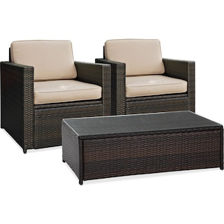 Aldo 2 Outdoor Chairs and Cocktail Table Set - Brown