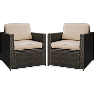 Aldo Set of 2 Outdoor Chairs - Brown