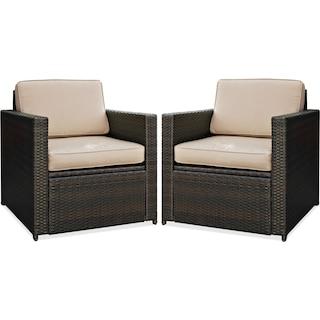 Aldo Set of 2 Outdoor Chairs - Brown