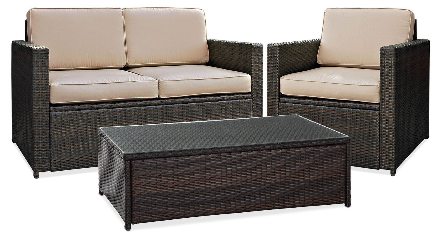 Outdoor Furniture - Aldo Outdoor Loveseat, Chair and Coffee Table Set - Brown