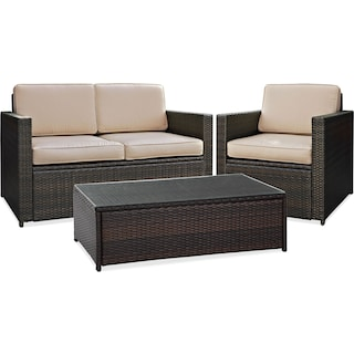 Aldo Outdoor Loveseat, Chair and Cocktail Table Set - Brown