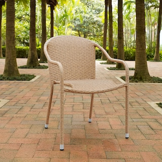 Aldo Set of 4 Stackable Outdoor Arm Chairs - Light Brown