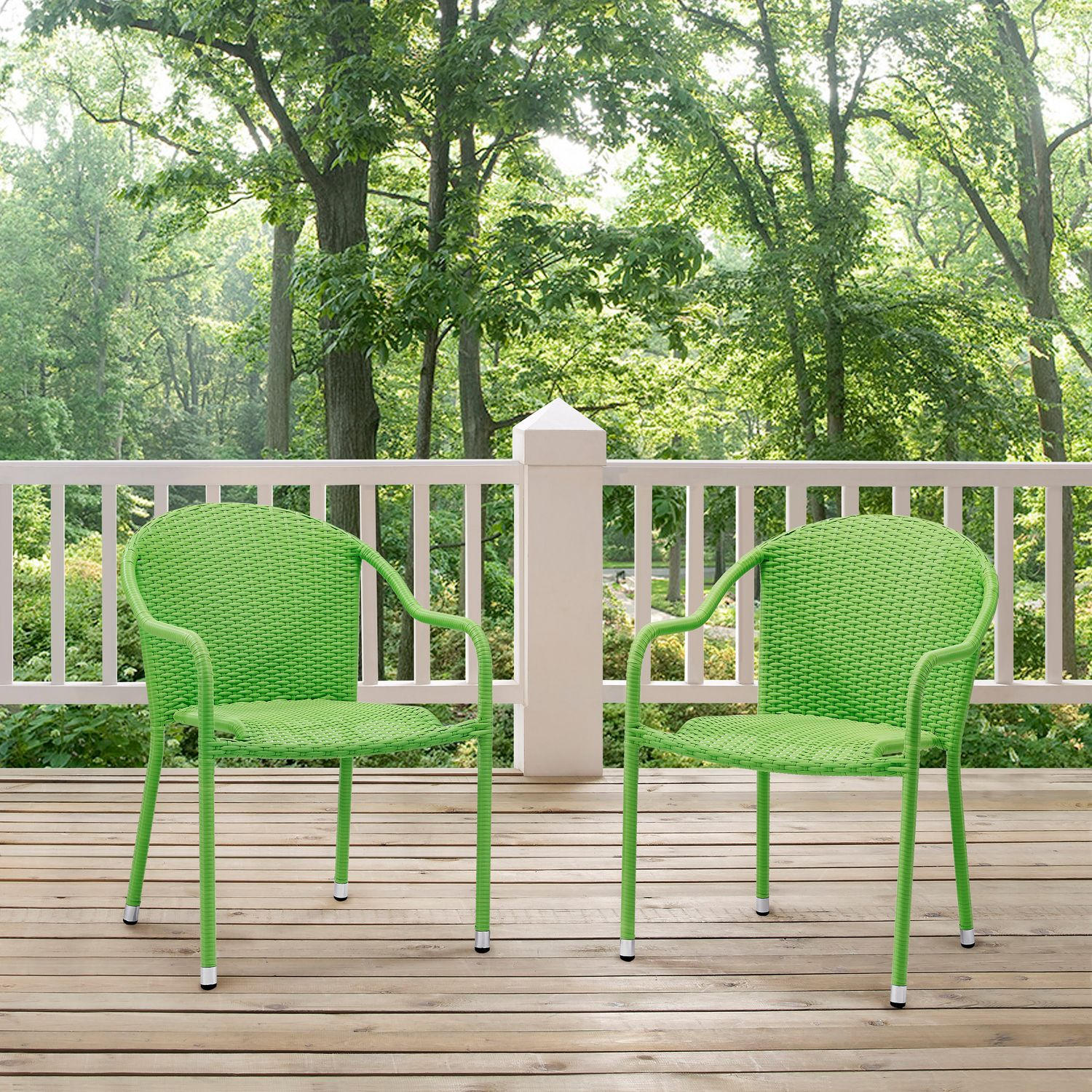Outdoor Furniture   Aldo Set Of 2 Stackable Outdoor Arm Chairs   Green