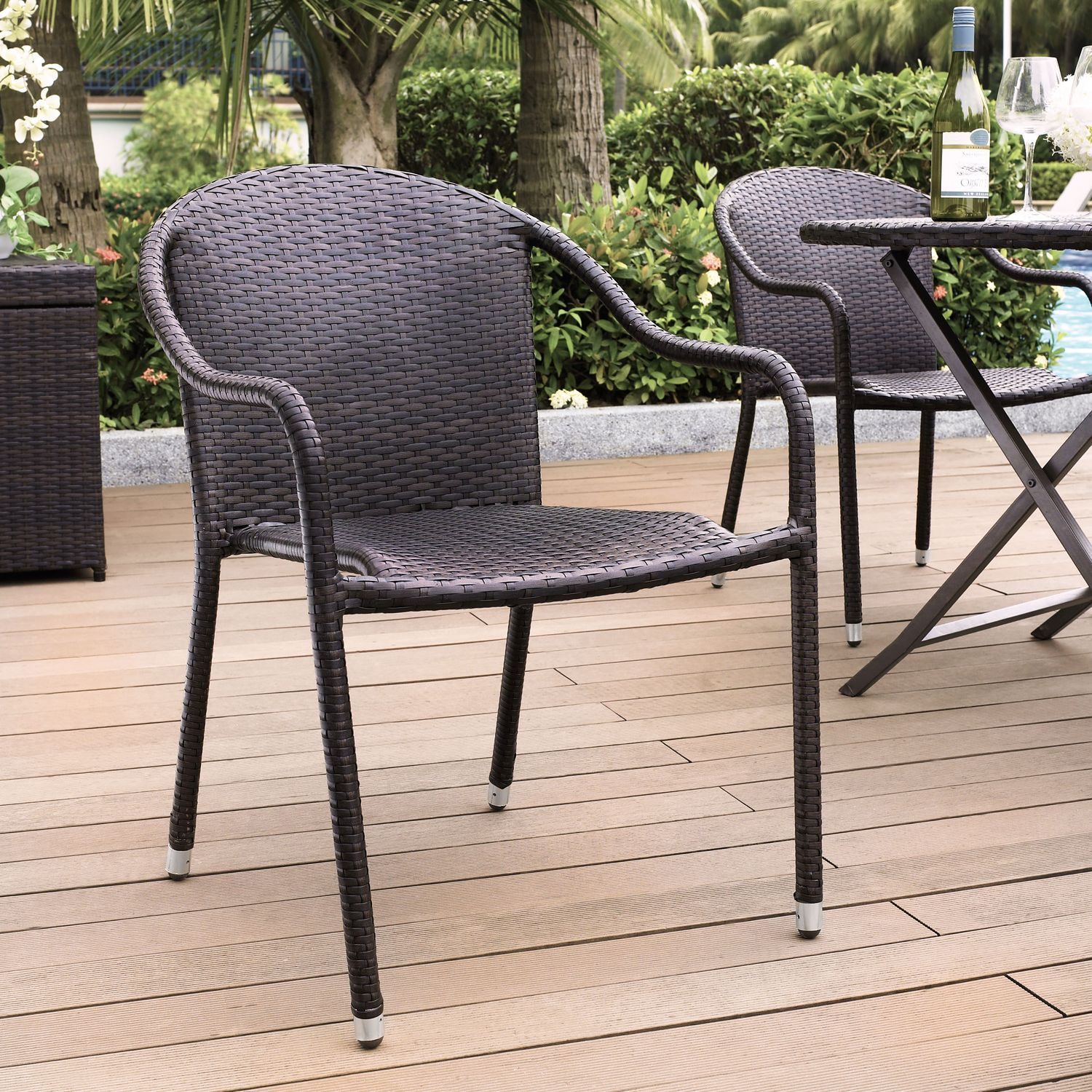 Aldo Set Of 4 Stackable Outdoor Arm Chairs   Brown