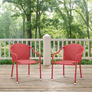 Aldo Set of 2 Stackable Outdoor Arm Chairs - Red